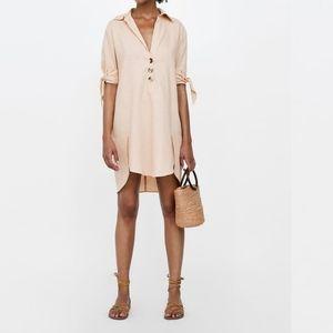 Zara linen polo tie dress